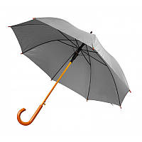 Зонт-трость полуавтомат серого цвета, фото 1