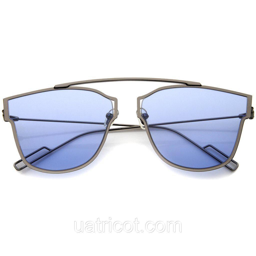 Женские солнцезащитные очки ультратонкие Aviator с голубой линзой