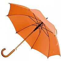 Зонт-трость полуавтомат оранжевого цвета