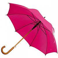 Зонт-трость полуавтомат розового цвета, фото 1