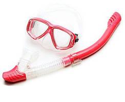 Маска для снорклинга Sambo snorkeling с трубкой красная