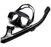 Маска для снорклинга Sambo snorkeling с трубкой черная