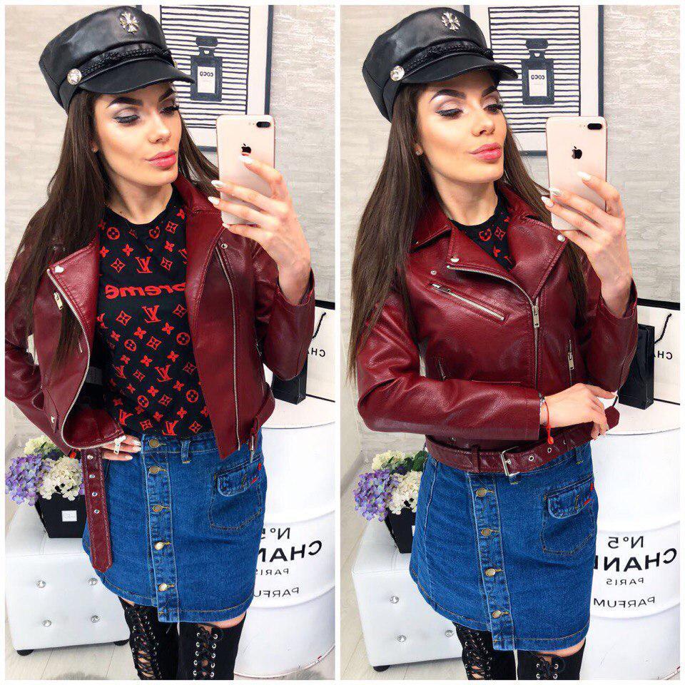 Куртка-косуха женская модная цвета марсала