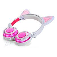 Наушники LINX R107W Наушники с кошачьими ушками LED, Розовые (SUN0476)