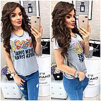 Классная женская футболка с надписями и рисунком