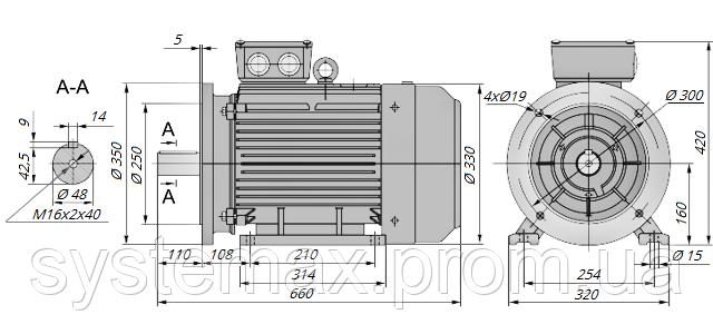 АИР160М4 / АИР 160 М4 / IM 2081 / IM2081 / комб / комбинированный / фланцевый / 18,5 кВт / 1500 об/мин