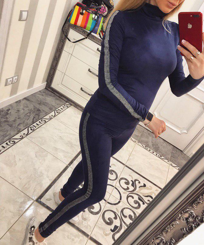 Шикарный замшевый костюм Алина т. синий
