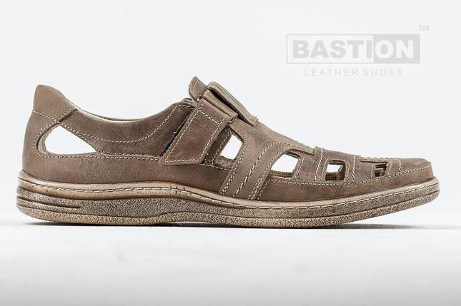 Мужские кожаные летние туфли, перфорация, KungFu beige    , фото 2