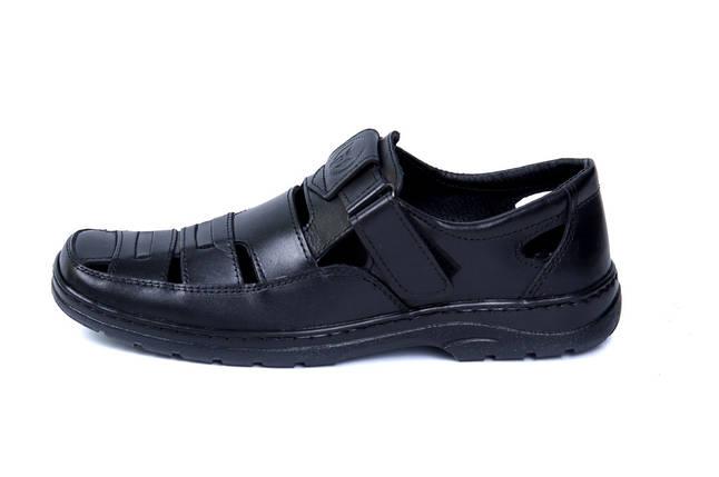 Мужские кожаные летние туфли Matador Black, фото 2