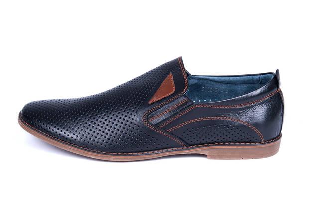 Мужские кожаные летние туфли, перфорация, KungFu black classic, фото 2