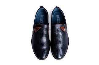 Мужские кожаные летние туфли, перфорация, KungFu black classic, фото 3