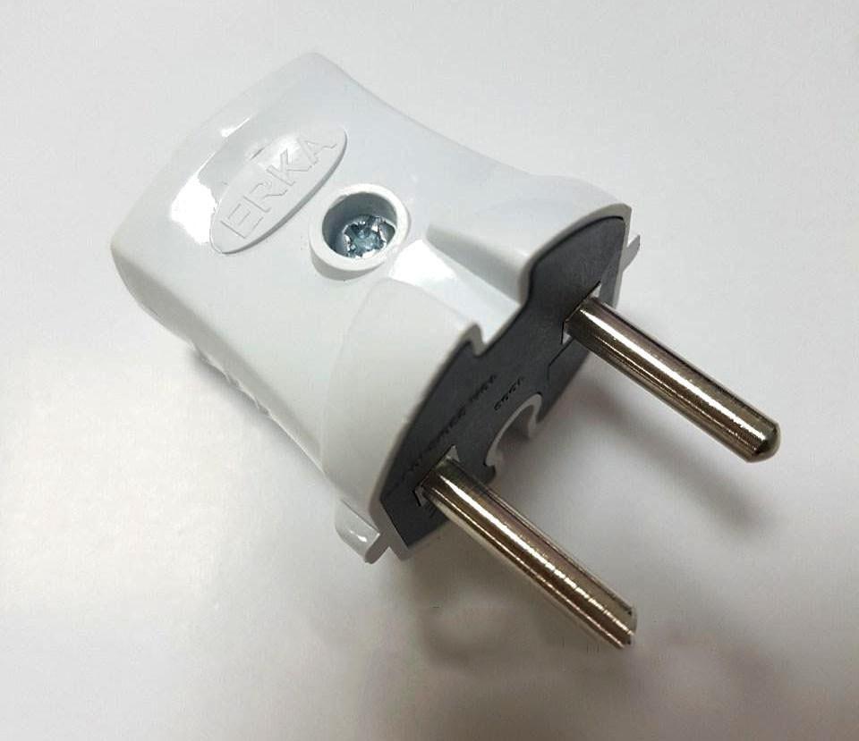 Вилка ERKA 1001,10А без заземления (белая)