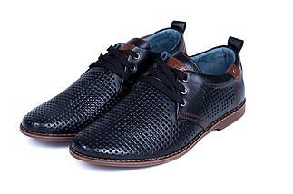 Мужские кожаные летние туфли, перфорация, KF black на шнурке, фото 3