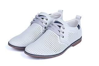 Мужские кожаные летние туфли, перфорация, KungFu grey, фото 3