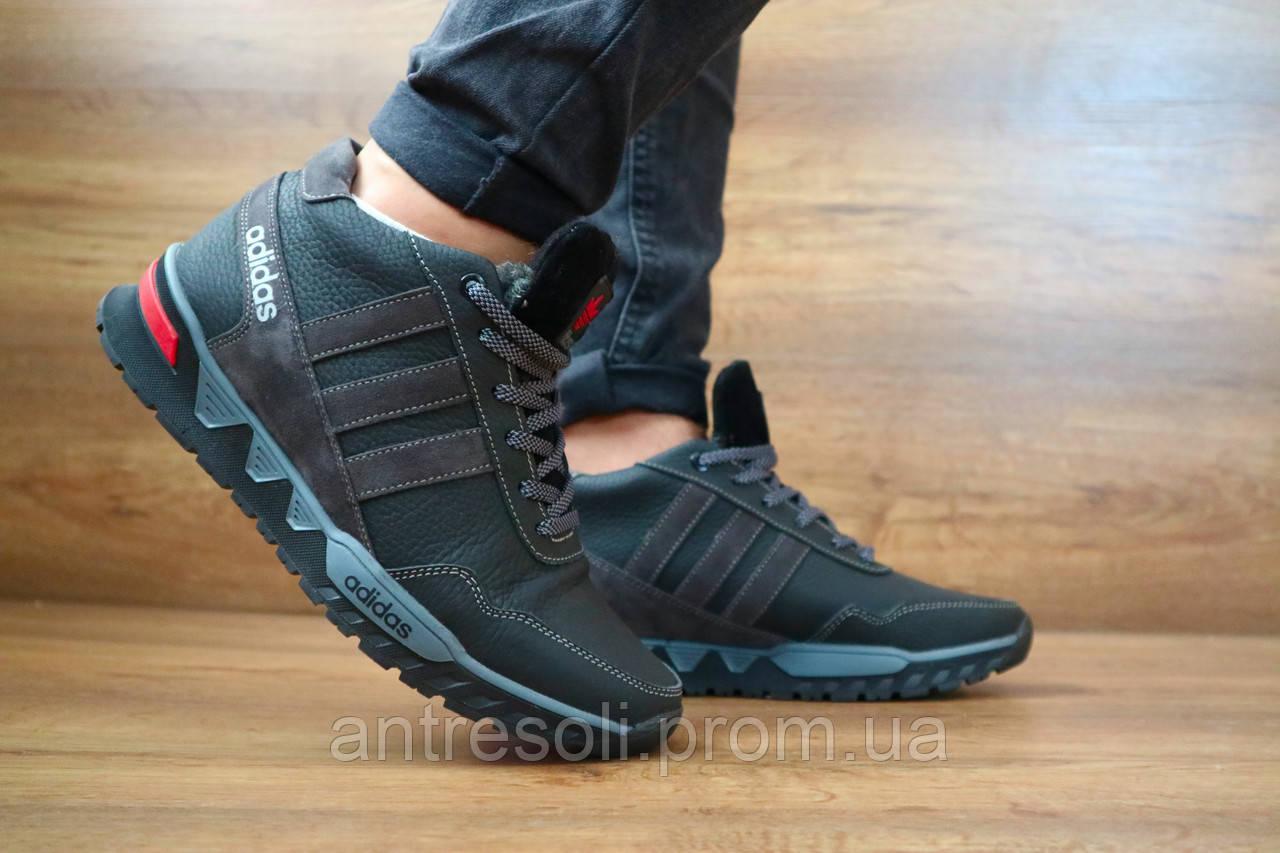 Мужские зимние кроссовки Adidas Черный\Серый 10415