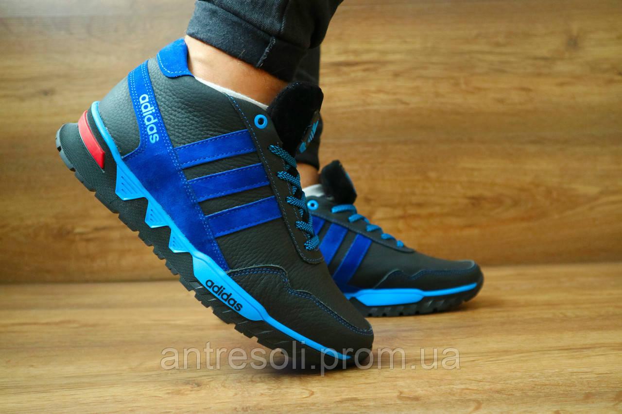 Мужские зимние кроссовки Adidas Черный\Голубой 10410