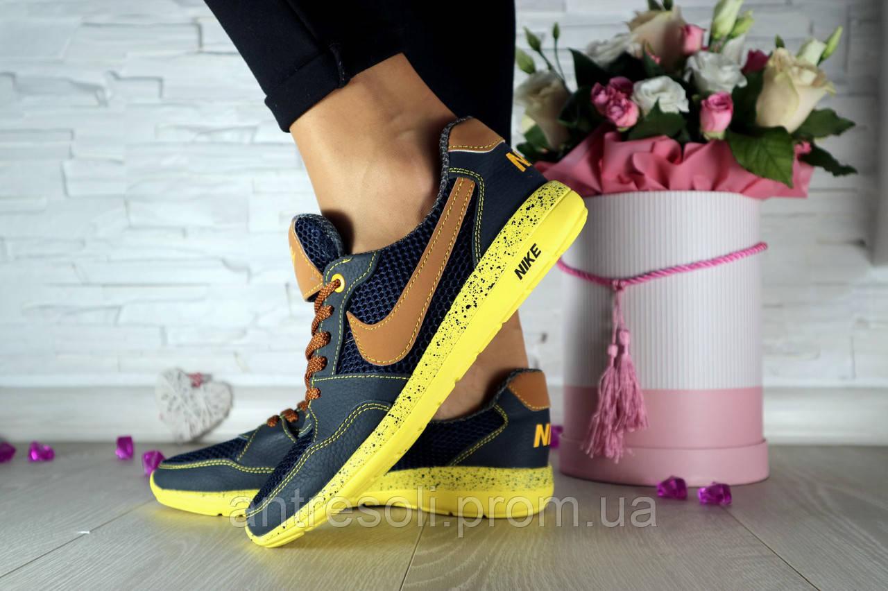 Женские кроссовки Nike Синий\Рыжий 102120