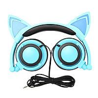 Наушники LINX R107W Наушники с кошачьими ушками LED Синие (SUN0477)