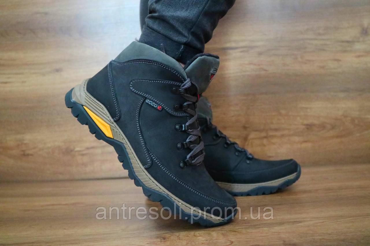 Мужские зимние кроссовки Ecco Черные 10455