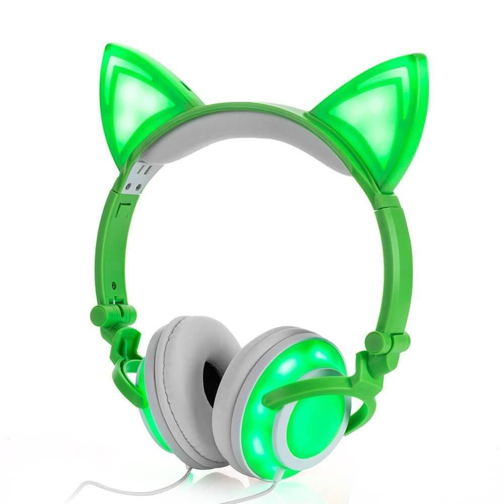 Наушники LINX R107W Наушники с кошачьими ушками LED Зеленые (SUN0478)