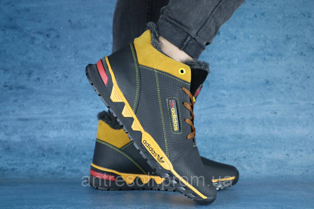 Мужские зимние кроссовки Adidas Черный\Желтый(NEW) 10490
