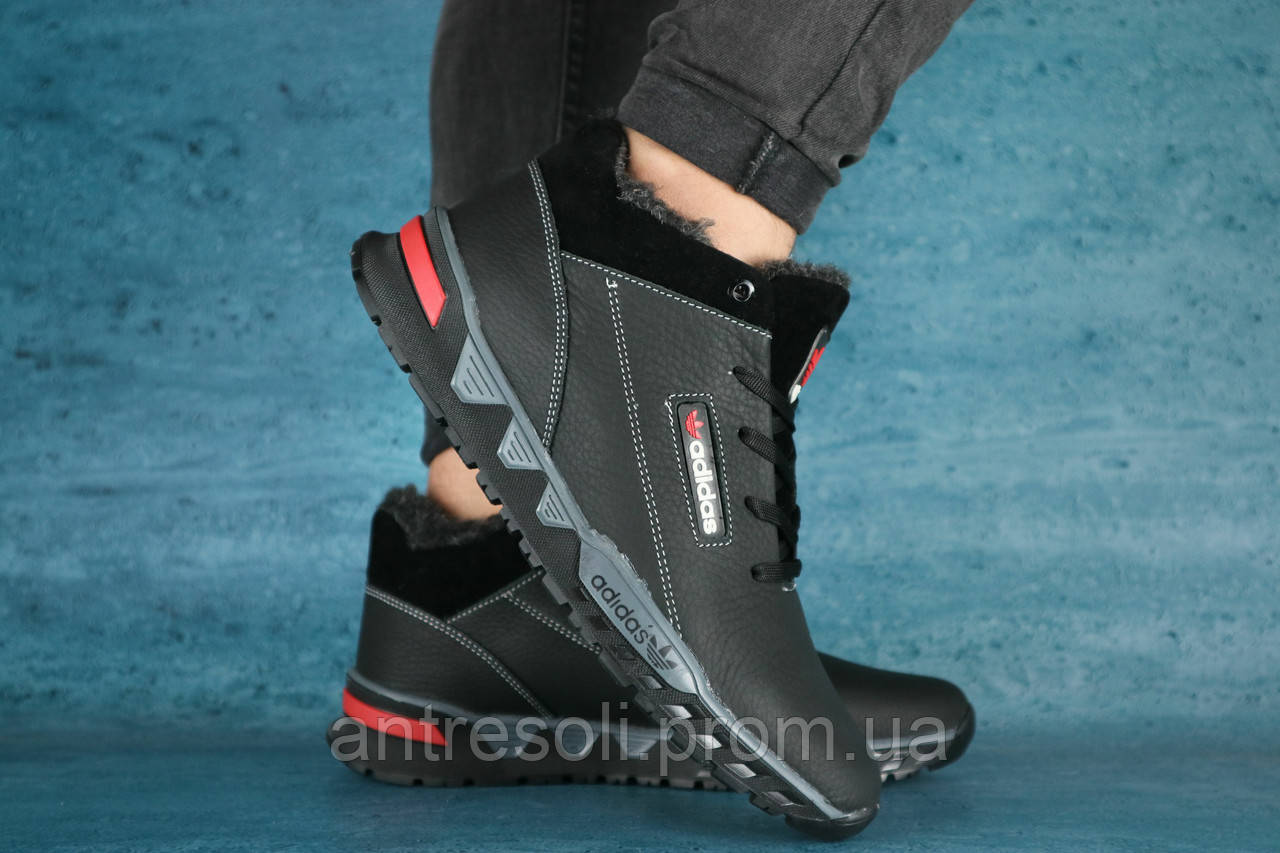 Мужские зимние кроссовки Adidas Черный\Серый(NEW) 10491