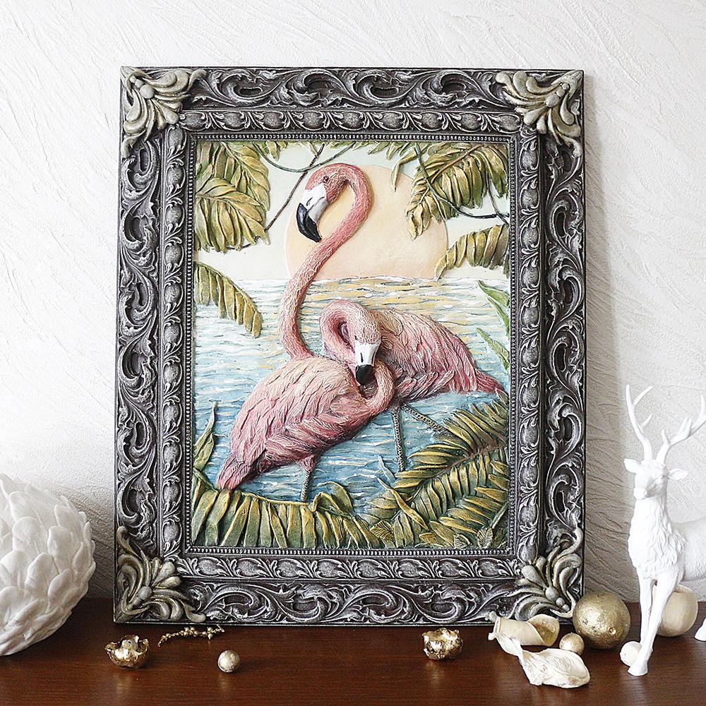 Панно рельефное Пара фламинго
