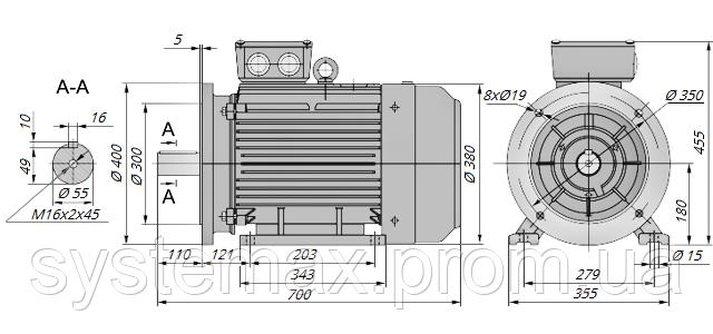 АИР180S4 / АИР 180 S4 / IM 2081 / IM2081 / комб / комбинированный / фланцевый / 22 кВт / 1500 об/мин