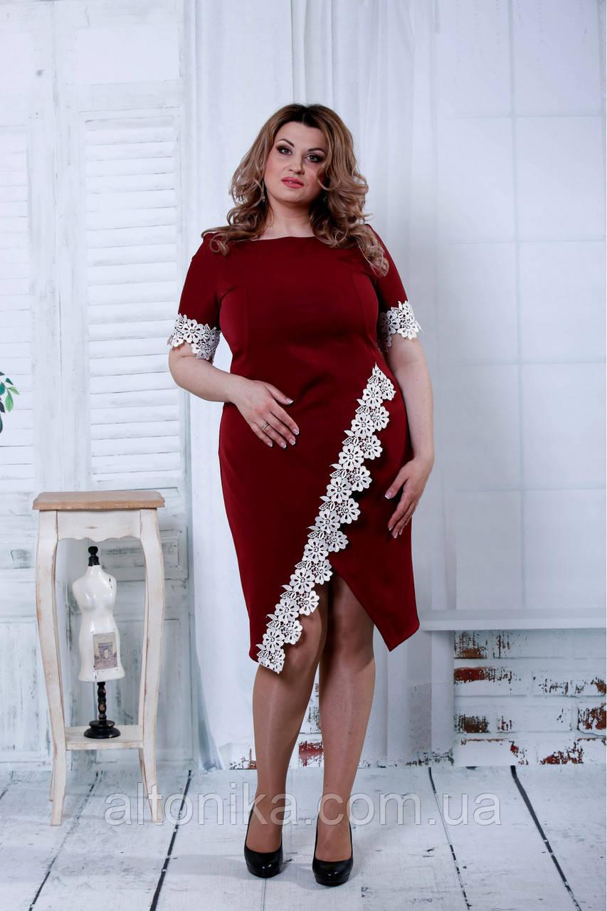 Длинное платье с вышивкой | 0834-2 Бордовый