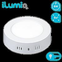 Светодиодный накладной светильник Ilumia 6Вт, 120мм, 4000К (нейтральный белый), 480Лм (035)