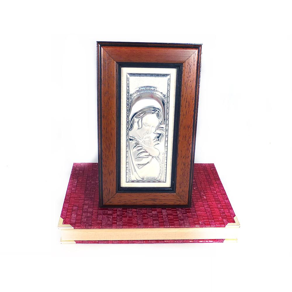 Образ Святая Мария в деревянной рамке