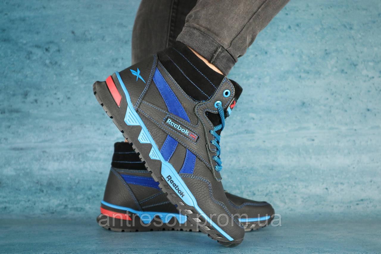 Мужские зимние кроссовки Reebok Черный\Голубой 10549