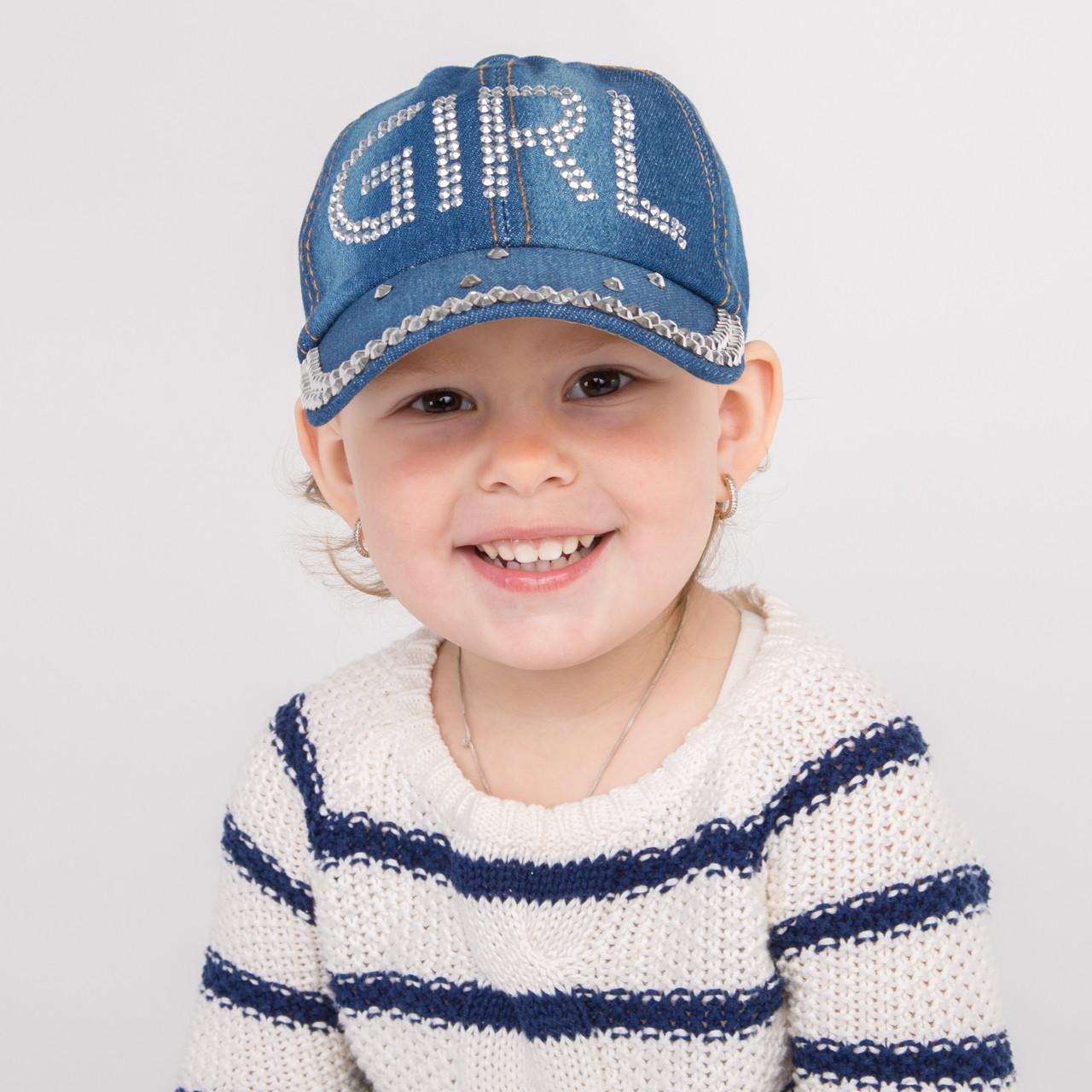 Стильная джинсовая кепка для девочек оптом - 32018-29