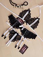 Комплект кружевного женского белья лиф, стринги, пояс для чулок. Размеры от XS до XXL, фото 1