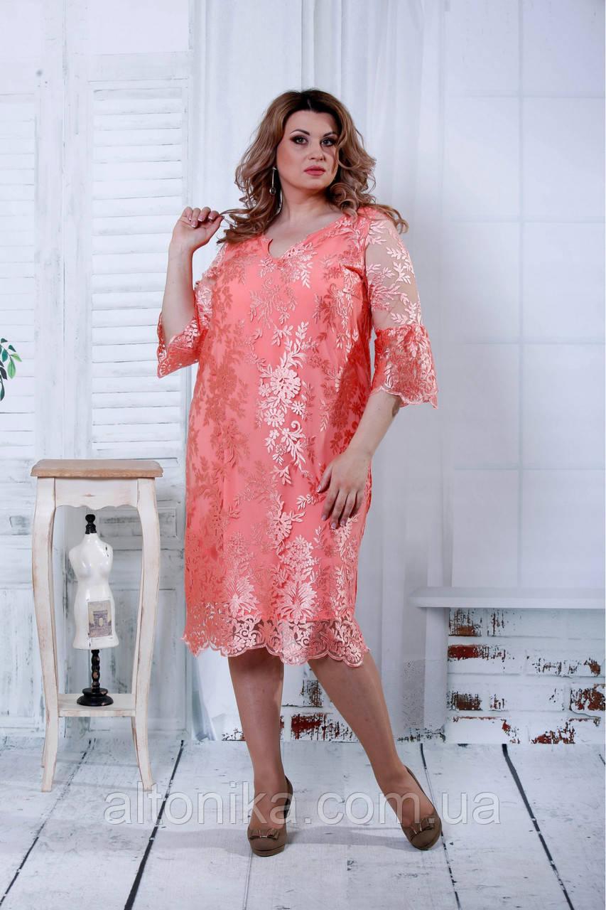 Летнее платье-рубашка с макраме | 0835-2 розовый