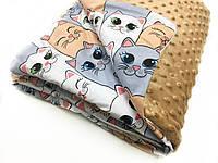 "Одеяло-плед в каляску ""плюш коричневый с кошками"" 80х100"