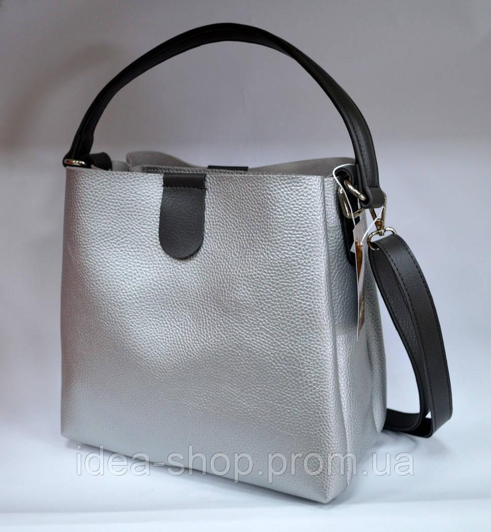 9ff4875336e3 Стильная сумка шоппер цвет серебро производство украина - интернет-магазин
