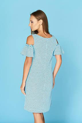 Летнее платье миди с рюшами голубое, фото 2