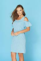 Летнее платье миди с рюшами голубое