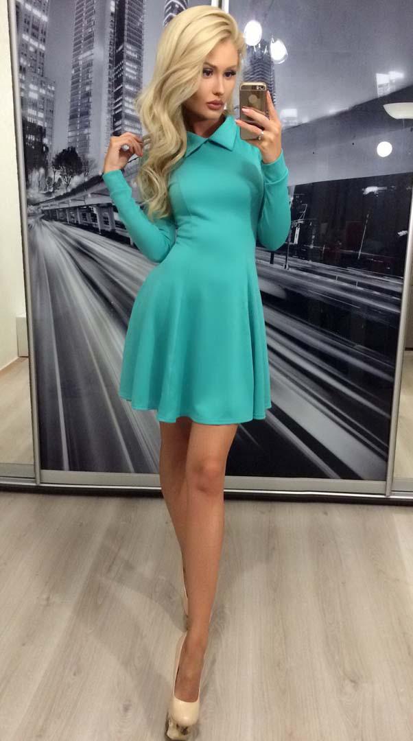 Коктейльное платье с длинным рукавом ft-283 бирюзовое