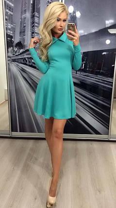 Коктейльное платье с длинным рукавом ft-283 бирюзовое, фото 2