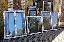 Вікно в.1,11 *ш.1,10 м металопластикове одностулкове біле глухе колір горіх із зовнішнього боку , фото 2