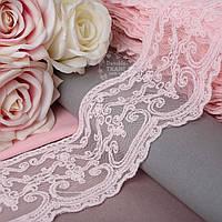 Кружево с имитацией кордовой нити, цвет светло-розовый, ширина 9 см.