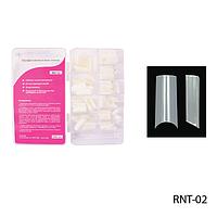 Ногти RNT-02 (по 300 шт) матовые, типсы прямоугольные, прямые