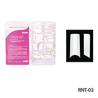 Ногти RNT-03 (по 300 шт) белые, типсы прямоугольные, прямые