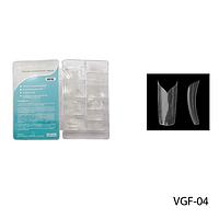 Ногти VGT-04 (по 300 шт) прозрачные с фигурной линией улыбки (одинарный вырез)