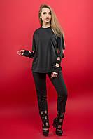Женский модный молодежный спортивный костюм  Блер / цвет черный / размер 50,54