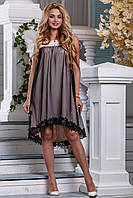 Женское платье, нарядное, асимметричное, персиковый/чёрный, летнее, софт, размеры от 44 до 50