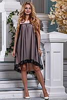 Женское платье нарядное асимметричное персиковый/чёрный летнее