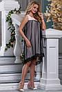 Женское платье нарядное асимметричное персиковый/чёрный летнее, фото 2